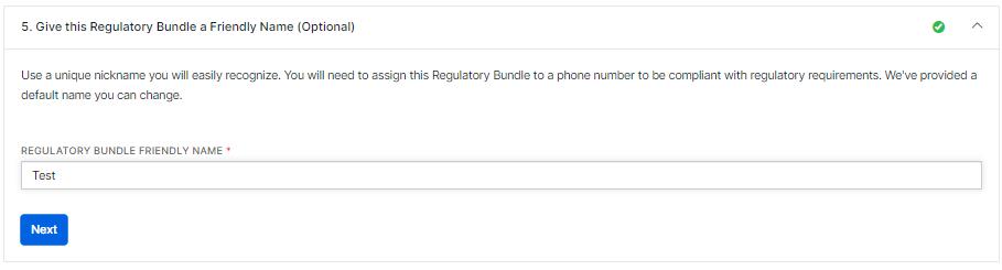 Give this Regulatory Bundle a Friendly Name(Optinal)