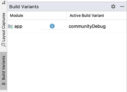 Active Build VariantがcommunityDebug
